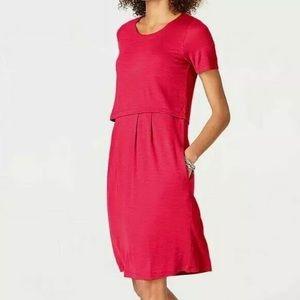 J. Jill Red Layered Knit Dress Button Back Sz LP